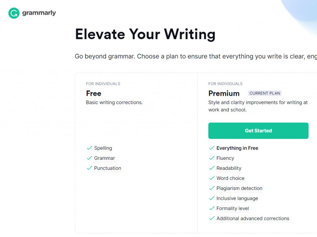 Grammarly - пакети за абонамент